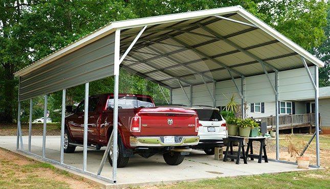 22x26 Two Car Metal Carport