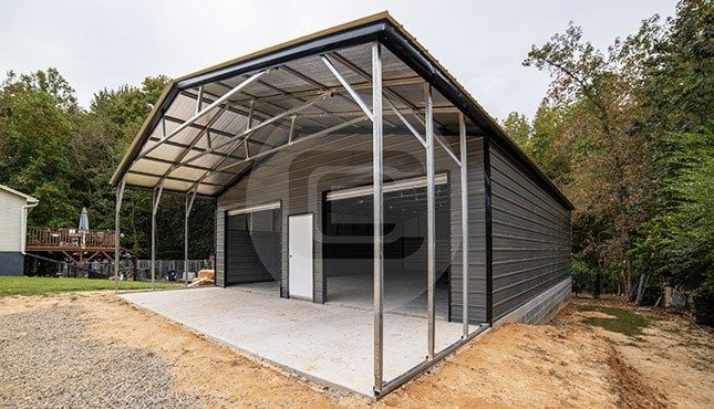 30x51x10 Garage with Covered Porch